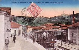 SASSI-SUPERGA-TORINO-STAZIONE COL TRENO FUNICOLARE=AGUDIO=-CARTOLINA VIAGGIATA IL 8-4-1917 - Trasporti