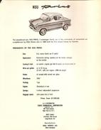 NSU WERKE PRINZ Saloon Auto / Car - US Salles And Spec Sheet - Germany - 1958?? - Cars