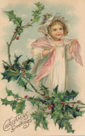 Christmas Greetings - Beautiful Young Girl With Shawl, Hat And Long Dress Among Hollies. Dated 1908 - Natale