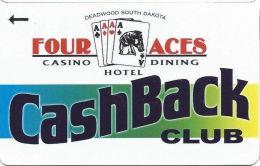 Four Aces Casino Deadwood, SD - Slot Card - Deadwood South Dakota Over Cards In Logo  (BLANK) - Casino Cards