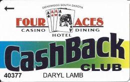 Four Aces Casino Deadwood, SD - Slot Card - Deadwood South Dakota Over Cards In Logo - Casino Cards