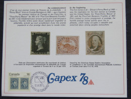 Canada 1978 CAPEX FDC Card - Penny Black Beaver Franklin - 1952-.... Règne D'Elizabeth II