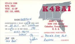 Amateur Radio QSL Card - K4BAI - Columbus, GA USA - 1967 - 2 Scans - STAMPED - Radio Amateur