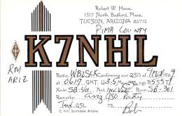 Amateur Radio QSL Card - K7NHL - Tucson, AZ USA - 1969 - Radio Amateur