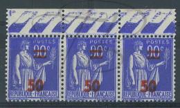 VEND BEAUX TIMBRES DE FRANCE N°482 EN BANDE DE 3 , IMPRESSION DEFECTUEUSE A GAUCHE , + BDF , XX !!!! - 1932-39 Peace