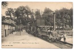 CARTE POSTALE DE BAYONNE - DéPART DU TRAIN POUR BIARRITZ , 1919 . - Bayonne