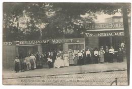 CARTE POSTALE DE PARIS , JEUX DE BOULES - BOULODROME MOUCHET , 1914 . - Ile-de-France