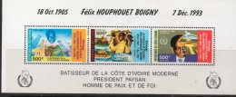 1994 Cote D´Ivoire Ivory Coast President 2 Strips Of 3 And Souvenir Sheet  Complete Set  MNH - Ivoorkust (1960-...)