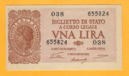 1 LIRA - ITALIA LAUREATA - DECR. 23 - 11 - 1944 - QFDS - [ 1] …-1946 : Kingdom