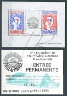 VEND BEAUX TIMBRES DE FRANCE N°8 + CARTE D'ENTREE PERMANENTE PHILEXFRANCE 82 !!!! - Neufs
