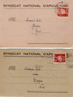 VP5285 - Carte Commerciale X 2 Du Syndicat National D´Apiculture De REIMS Pour HASPRES - Cartes