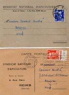 VP5287 - Carte Commerciale X 2 Du Syndicat National D´Apiculture De REIMS Pour HASPRES - Cartes
