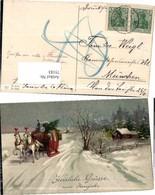 75183,EAS 3774 Neujahr Kutsche Pferde Weihnachtsbaum Winterpartie - Fotografie