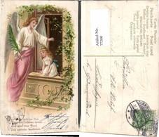 77200,Präge Litho Engel Kind Am Fenster 1905 - Engel