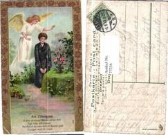 77236,Präge Litho Engel Elterngrab Goldruck - Engel