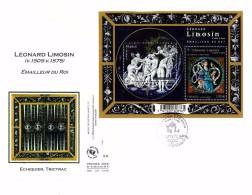 ART DE FRANCE - QUADRI DI FRANCIA - FDC  ANNO 2015  LEONARD LIMOSIN - FOGLIETTO - BUSTONE - ECHIQUIER, TRICTRAC - 2010-....