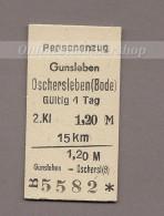 Pappfahrkarte Deutschland (DDR Reichsbahn)-->  Gunsleben - Oschersleben (Bode) - Europa