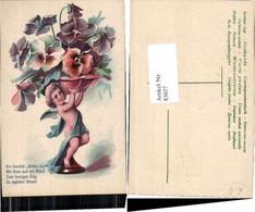 83027,Tolle Präge Engel Veilchen Blumen Art Deco - Engel