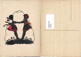 83383,Scherenschnitt Kinder Tanzen Reigen Kleid - Scherenschnitt - Silhouette