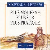 1 DEPLIANT DE PRESENTATION 2 VOLETS DU NOUVEAU BILLET FRANCAIS DE 50 FRANCS SAINT EXUPERY DOCUMENTATION BANQUE DE FRANCE - Specimen