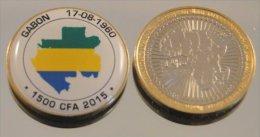 Gabon 1500 CFA 2015 Bimetal Couleurs Drapeau - Gabón