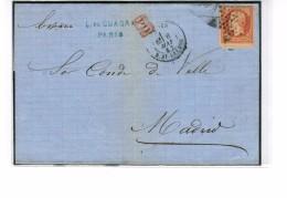 ETOILES DE PARIS  N°2  SUR N°23 AVEC  PIQUAGE A CHEVAL TRES IMPORTANT 1862 - France