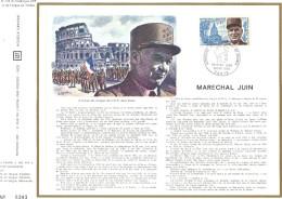 Sur Feuillet CEF , FDC 1970 Paris .  Maréchal JUIN ....Le Gouvernement Des Etats-Unis D'Amérique Lui A Décerné... Histoi - 1970-1979