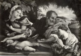 Bergamo - Santino Cartolina MADONNA COL BAMBINO, S. GIUSEPPE E S. CATERINA Accademia Carrara - OTTIMA M83 - Religione & Esoterismo