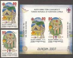 EUROPA CEPT - CHIPRE TURCO 2007 - Yvert  #614/5+H25 - MNH ** - Europa-CEPT