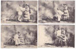 Lot De 4 Cartes Pierrot Et Colombine à Vélo - Couples