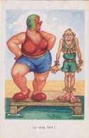 Humour  Illustrateur Raffray  Grosse Femme Maillot Et Bonnet De Bain , Petit Homme Avec Bouée ,piscine M.D  NEUVE - Humour