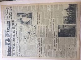 JOURNAL 25 AOUT 1944 : DEFENSE DE LA FRANCE . LES AVANT GARDES DE LECLERC AUX PORTES DE PARIS . - 1939-45