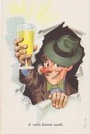 Humour  Illustrateur   Homme Chapeau,noeud Papillon,ivresse,verre Plein, Photochrom 718 Neuve - Humour