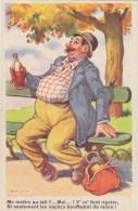Humour  Illustrateur   Homme Chapeau , Banc, Bouteille,ivresse, Edition Picard ( La Rose) Neuve - Humour