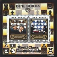Nord-Corée 2074-2075 Feuille Miniature (complète.Edition.) Oblitéré 1980 Championnats Du Monde D'échecs - Corea Del Nord