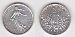 5 FRANCS SEMEUSE Argent 1967 - SUPERBE  (voir Scan) C - J. 5 Franchi