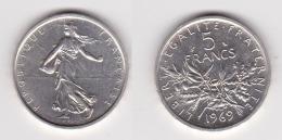 5 FRANCS SEMEUSE Argent 1969 - SUPERBE  (voir Scan) B - France