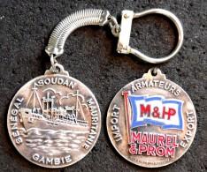 Marine Ancien Porte-clé Métal Argenté émaillé - Compagnie M & HP - Sénégal Gambie Soudan Mauritanie - 1° Modèle - Bateaux