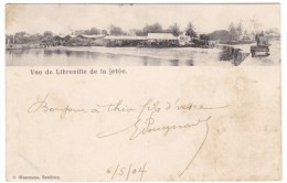 Libreville French Congo Francais, View Of Town And Jetty From River, C1900s Vintage Postcard - Gabon