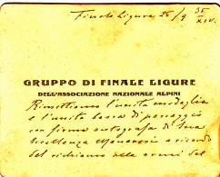 TESSERA-DOCUMENTO- ASSOCIAZIONE NAZIONALE ALPINI-GRUPPO Di FINALE LIGURE-26/9/1935-OTTIMA CONSERVAZIONE-2 SCAN- - Publicidad