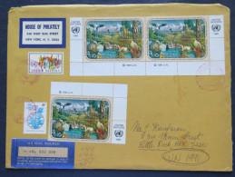 United Nations 1991 Insured Cover To USA - Animals, Birds Falcon, Stork (Scott 587a 3x 4.50 = 13.50 $) - Storia Postale