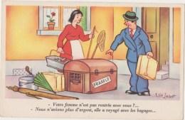 Humour Illustrateur  Elie Lechat ,Rentrée De Vacances ,homme,femme,valise,épuisette,parapluie,  GOLO  Neuve - Other Illustrators