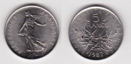 5 FRANCS SEMEUSE Cupro Nickel 1987 FDC  (voir Scan) 2 - Francia