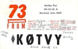 Amateur Radio QSL- K0TVY - Raymond, IA - USA - 1968 - 2 Scans - Radio Amateur