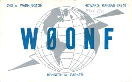 Amateur Radio QSL- W0ONF - Howard, KS - USA - 1968 - 2 Scans - Radio Amateur