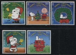 Gibraltar 2001 Christmas, Snoopy 5v, Mint NH, Art - Comics (except Disney) - Religion - Christmas - Gibraltar
