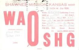 Amateur Radio QSL- WA0SHG - Shawnee Mission, KS - USA - 1968 - 2 Scans - Radio Amateur