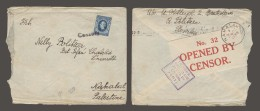 SLOVAKIA. 1939 (Oct). Bratislava - Palestine, Nahalal (31 Oct). Fkd 2,50kr Blue Tied Cenzur + Censor Label Palestine ... - Unclassified