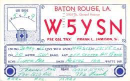 Amateur Radio QSL- W5YSN - Baton Rouge, LA -USA- 1966 - 2 Scans - Radio Amateur