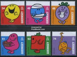 Guernsey 2008 Mr.Men Little Miss 6v, Mint NH, Art - Comics (except Disney) - Various - Greetings & Wishing.. - Guernesey